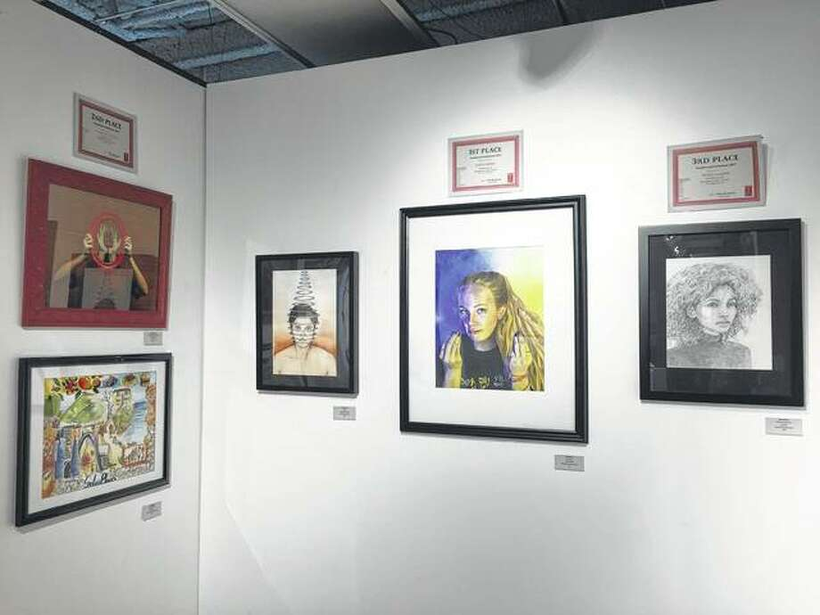 Pictured are the top three finishers in the Edwardsville Art Center's annual Southwestern Conference Art Competition. Photo: Julia Biggs | For The Telegraph