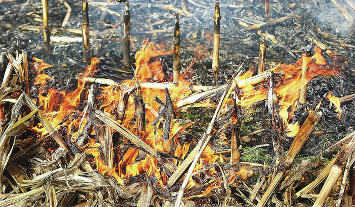 A close up shows flames consuming the dry stubble under the blowing winds, leaving behind a blackened field of even shorter stalks. Firefighters were on the scene Wednesday for hours.
