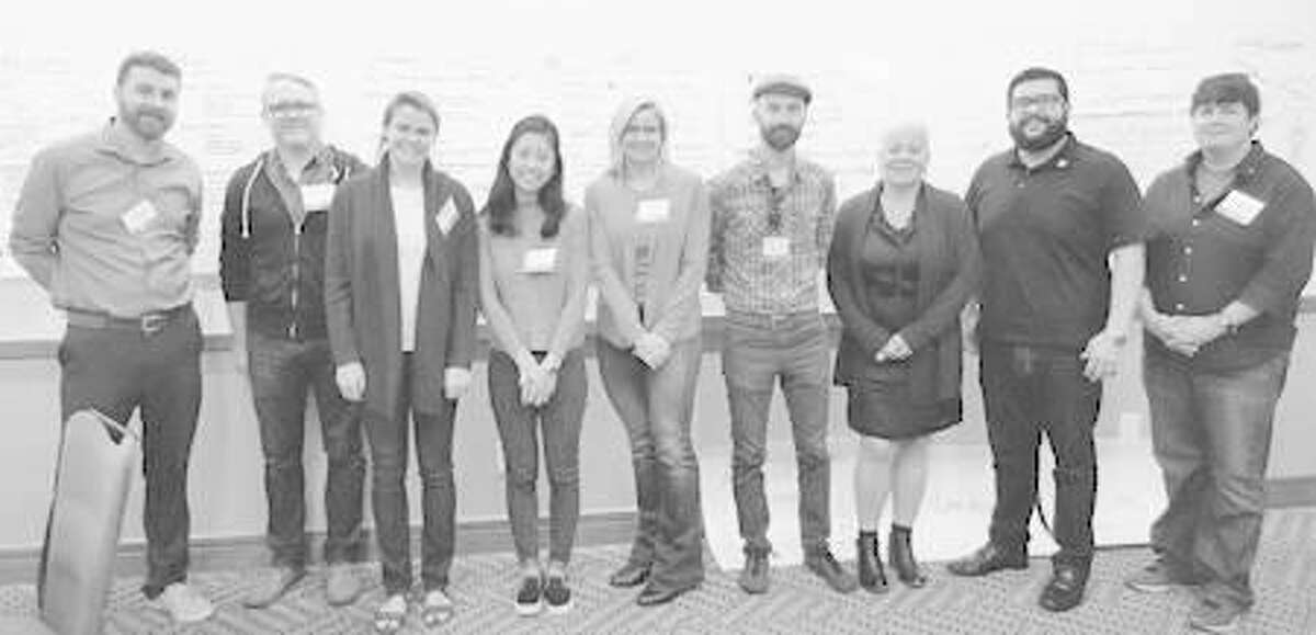 Shown are, from left, Stephen Hupp, professor of psychology at SIUE; Step Aument, with ReadyRosie; Kate Hodges and Su Fang, students at the University of Texas at Austin; Colleen Anderson, with ReadyRosie; Jake McClure, chairman of Salado Montessori; Karen Carradine, vice president of Head Start, Geminus Corporation; Joel Saldaña, Head Start director of operations; and SIUE computer science graduate student Ehren Wolfe.