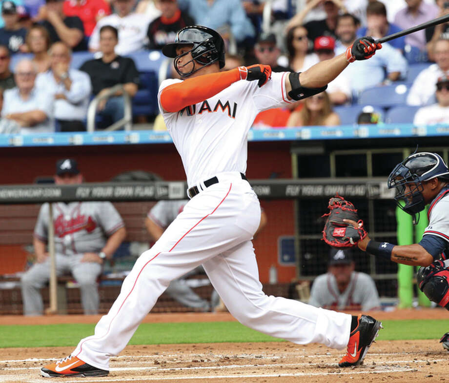Marlins right fielder Giancarlo Stanton, the reigning National League MVP, Friday declined to waive his no-trade clause that would have finalized a trade sending him to the Cardinals. Photo: AP File