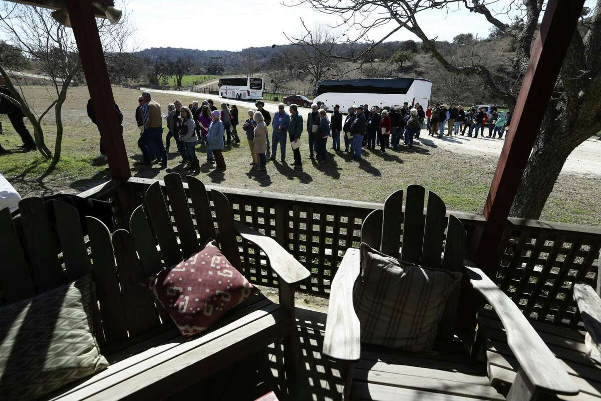 Members of the American Sheep Industry Association gather for lunch at Hillingdon ranch on Jan. 31.The association was in San Antonio for a national convention.
