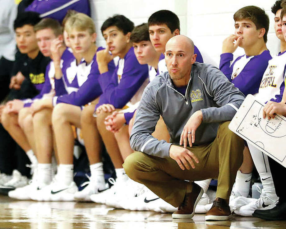 Civic Memorial coach Ross Laux saw his team drop to 5-3 and 2-2 in the Mississippi Valley Conference with a 53-50 loss Tuesday night at Mascoutah. Photo: Billy Hurst | For The Telegraph