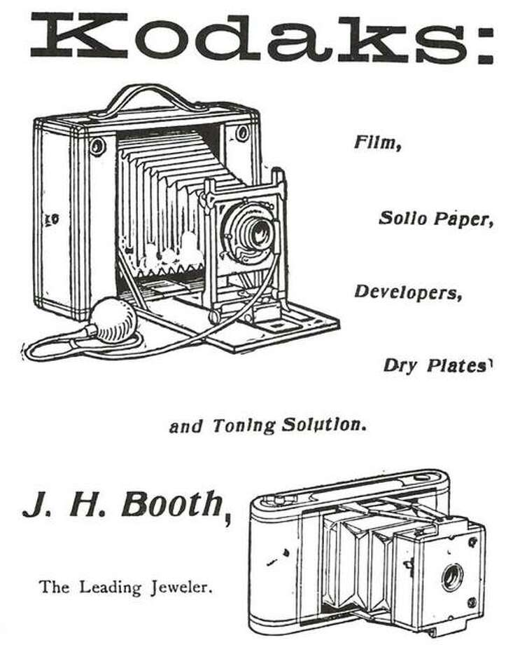 "The word KODAK did not exist until George Eastman decided it was the descriptive word he needed for his invention. It had a nice ring to it, and meant nothing in English or any other language. Since the 1880s, the word has stood for a picture-taking device of one form or another. In the past, the ""machines"" were sold by jewelers such as Alton's J.H. Booth, ""the Leading Jeweler."" As the ad states, developing chemicals were usually purchased from him also, or from a druggist. Many a home had a darkroom and prints were easily made on blueprint paper, which required only water to cause the image to appear once it had been exposed to light through the negative. The above illustration shows a roll film camera which used a large roll, taking 4- by 5-inch pictures. The other camera used a smaller film, and was a ""pocket camera."" Photo: File Photo"