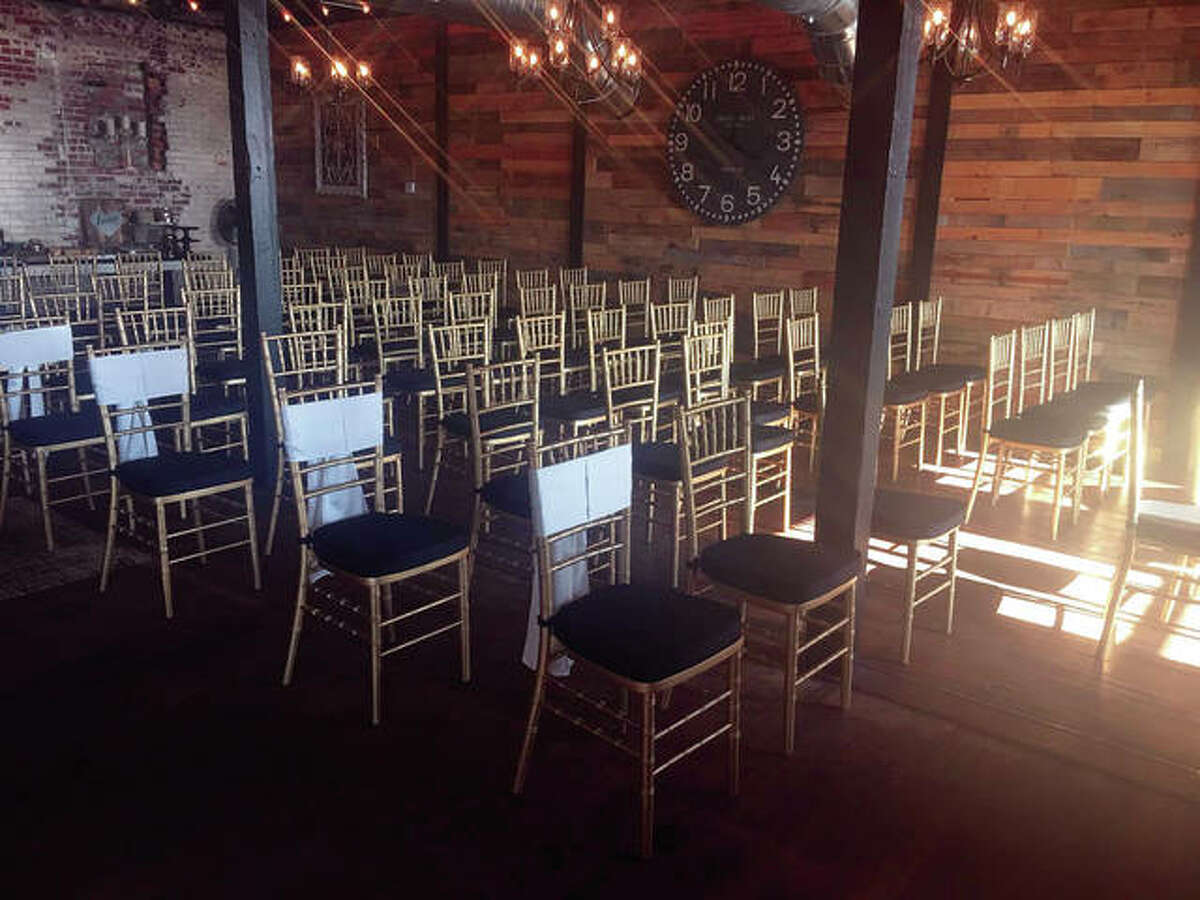 The climate-controlled building has multiple streamlined ceiling fans and gold Chiavari chairs, which are included in the rental fee, along with tables. Tables can be moved to meet clients' needs, which the Brynildsens help coordinate.