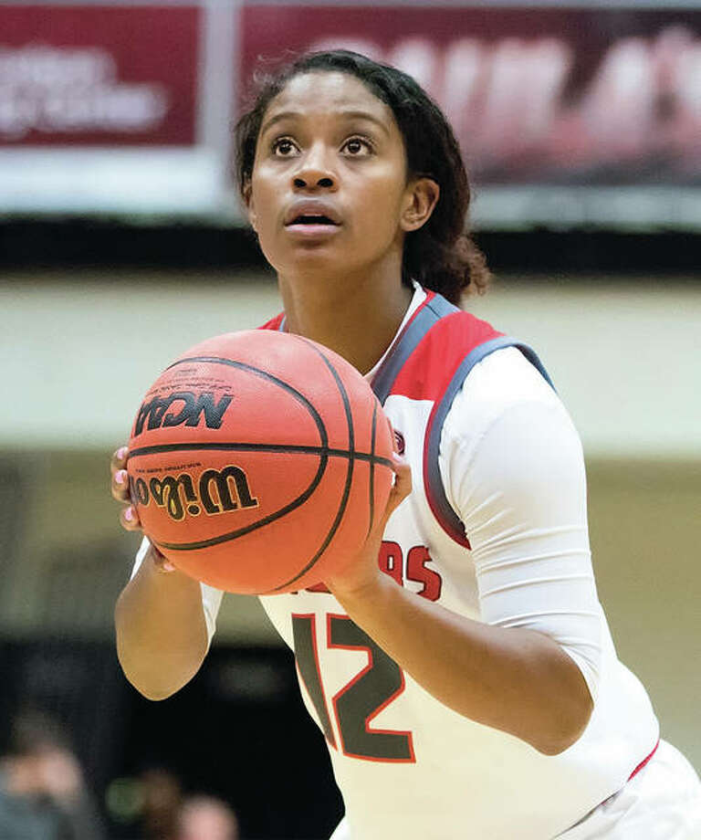 SIUE's Lauren White, a senior from Edwardsville, scored a career-high 28 points against Northern Illinois on Sunday at the Vadalabene Center in Edwardsville, but it was not enough to prevent a loss that dropped the Cougars to 3-6. Photo: SIUE Athletics