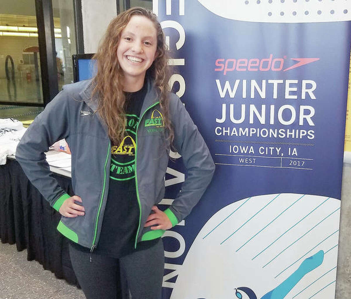 Eleni Kotzamanis, 14, of Godfrey is making waves as a member of the Flyers Aquatic Swim Team in St. Louis. She is pictured at the recent Speedo Winter Junior Championships in Iowa City, Iowa.