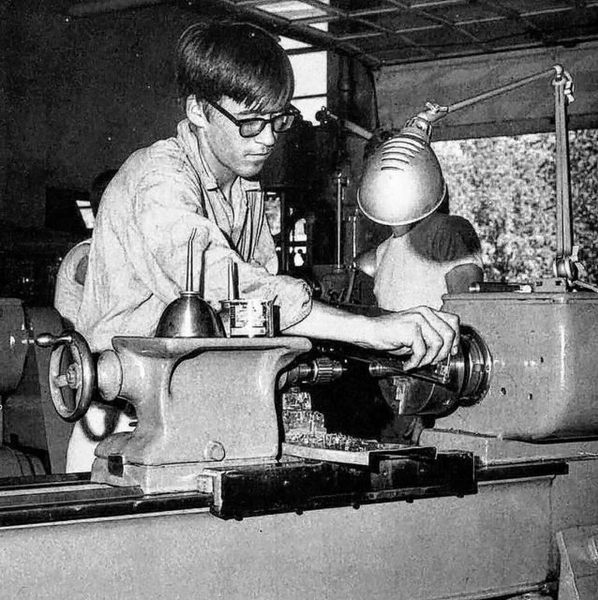 Student in metalworking class at Alton Senior High School, which offers many opportunities for the student to enter fully into school life through extracurricular activities covering a wide range of interests. Enrollment has increased over the years in Alton schools as the community has grown, and building has kept up with the steady increase. The community supports its schools.