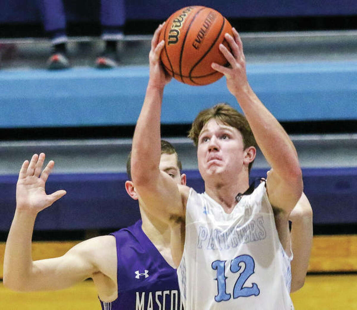 Jersey's Blake Wittman goes up to score in a Mississippi Valley Conference game against Mascoutah on Tuesday night at Havens Gym in Jerseyville. The Indians defeated the Panthers 64-56 to send Jersey to holiday tournament play next week in Pinckneyville.
