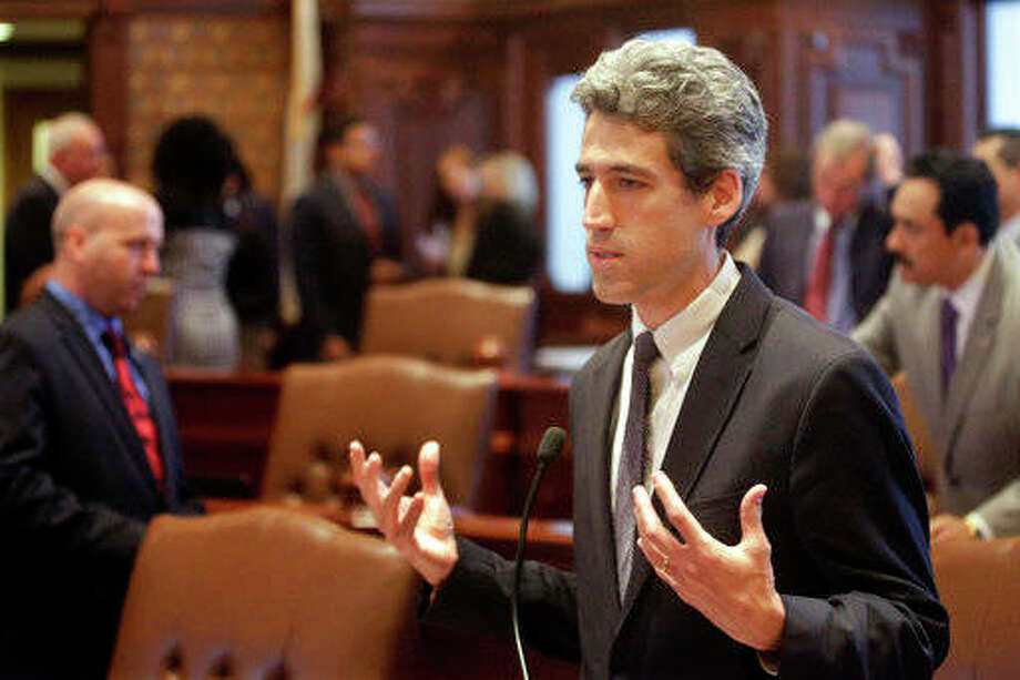 Seth Perlman | AP Sen. Daniel Biss, D-Skokie, speaks to lawmakers while on the Senate floor at the Capitol. In a live video event Monday, Biss said he's running for governor in 2018. He becomes the latest Democrat to say he's seeking the nomination to challenge Republican Gov. Bruce Rauner.