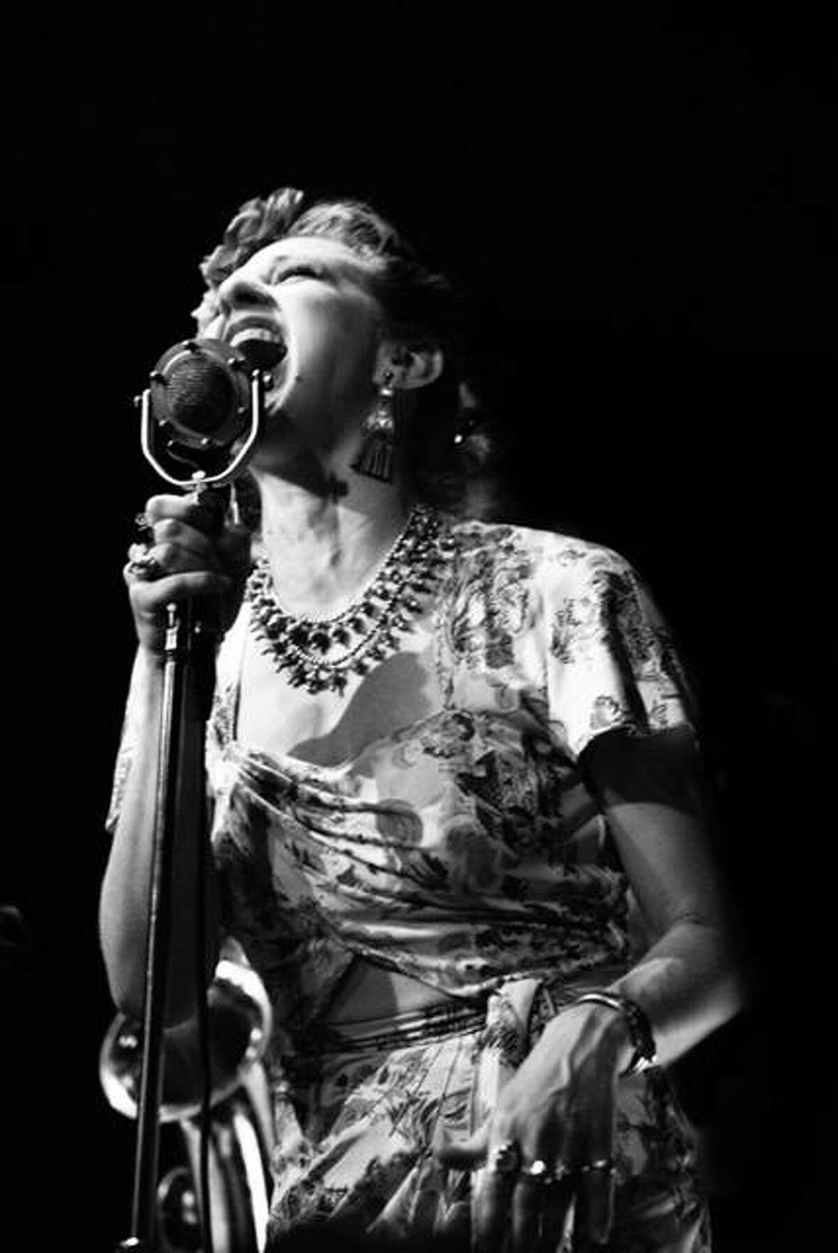 Miss Jubilee's vocalist, Valerie Kirchhoff, sings the band's one-of-a-kind repertoire that includes jazz, swing, and rhythm and blues, backed by a horn-fueled rhythm section, with music reminiscent of the swinging high-energy blues bands of the 1940s and 1950s, as well as the hot jazz and R&B of the 1920s and 1930s.