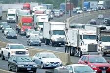Heavy traffic travels northbound on Interstate 95, I-95, in Bridgeport.