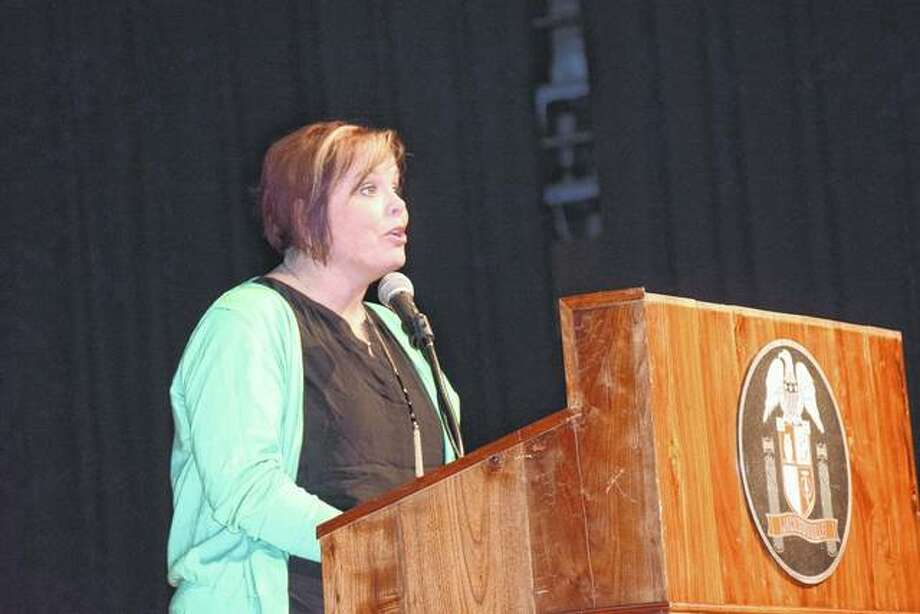 Audra Nelson, a third-grade teacher at South Elementary School, gives the keynote speech during the Student Volunteer Service Awards Program Wednesday night. Photo: Samantha McDaniel-Ogletree | Journal-Courier