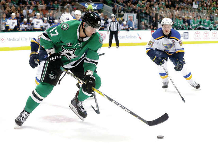 Dallas Stars right wing Alexander Radulov (47) and St. Louis Blues right wing Vladimir Tarasenko (91) chase the puck during the first period Friday night in Dallas. Photo: AP