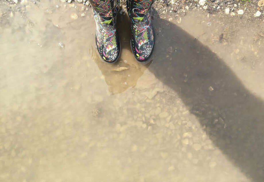 A colorful pair of boots meets up with a puddle left from a series of rainstorms that moved through the region Thursday. Photo: Joy Harris | Reader Photo