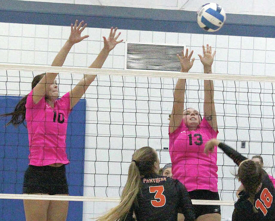 Lewis and Clark Community College's Bailey Jarman (10) and Savanna Stevens (13) were part of the Trailblazers' 18-17 squad this past season. Jarman was named to the Mid-West Athletic Conference All-Conference First Team. Stevens played had a stretch of back-to-back matches this season with no hitting errors. Photo: LCCC Media Services Photo