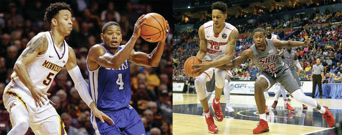 """It was a big college basketball Saturday for area products D'tae McMurray of Alton and Armon Fletcher of Edwardsville. McMurray, a senior at Drake, scored a season-high 25 points in the Bulldogs' 75-72 Missouri Valley Conference victory at Indiana State. The victory kept Drake unbeaten at 4-0 and in first place in the MVC. The 10-7 Bulldogs also have league wins over Bradley, SIU and Illinois State. McMurray, a former prep standout at both Marquette Catholic and Alton, is averaging 12.0 points per game. In the photo at left, he is shown driving past a Minnesota defender in a Dec. 11 game in Minneapolis. In the photo at right, Fletcher (right) reaches for the basketball in a game against Illinois State in last season's MVC tourney in St. Louis. A redshirt junior with the Salukis, Fletcher had career highs in scoring and rebounding in SIU's 84-72 Valley loss at Valparaiso. Fletcher made 11 of 19 shots, including 2 of 5 from the arc, and 8 of 11 free throws to scored 32 points to go along with 14 rebounds. """"That's the one positive coming out of here,"""" said SIUC coach Barry Hinson, whose Salukis are 10-7 and 2-2 in the MVC. """"Armon Fletcher came to play a basketball game. We saw a side of him we haven't quite seen. I really liked that. That was encouraging and we have to hope that will spread to the other guys."""""""