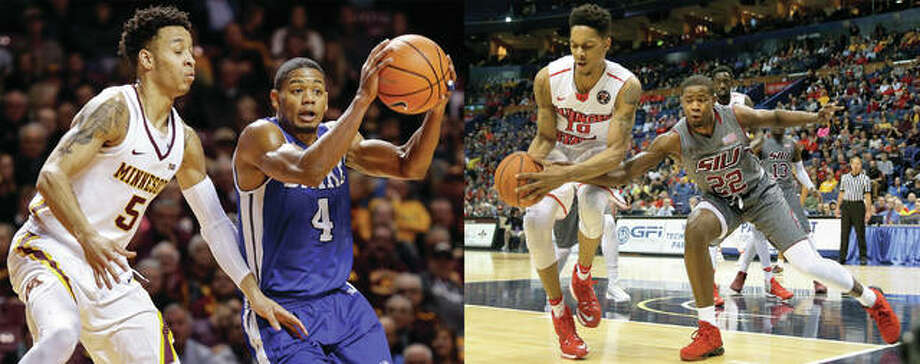 "It was a big college basketball Saturday for area products D'tae McMurray of Alton and Armon Fletcher of Edwardsville. McMurray, a senior at Drake, scored a season-high 25 points in the Bulldogs' 75-72 Missouri Valley Conference victory at Indiana State. The victory kept Drake unbeaten at 4-0 and in first place in the MVC. The 10-7 Bulldogs also have league wins over Bradley, SIU and Illinois State. McMurray, a former prep standout at both Marquette Catholic and Alton, is averaging 12.0 points per game. In the photo at left, he is shown driving past a Minnesota defender in a Dec. 11 game in Minneapolis. In the photo at right, Fletcher (right) reaches for the basketball in a game against Illinois State in last season's MVC tourney in St. Louis. A redshirt junior with the Salukis, Fletcher had career highs in scoring and rebounding in SIU's 84-72 Valley loss at Valparaiso. Fletcher made 11 of 19 shots, including 2 of 5 from the arc, and 8 of 11 free throws to scored 32 points to go along with 14 rebounds. ""That's the one positive coming out of here,"" said SIUC coach Barry Hinson, whose Salukis are 10-7 and 2-2 in the MVC. ""Armon Fletcher came to play a basketball game. We saw a side of him we haven't quite seen. I really liked that. That was encouraging and we have to hope that will spread to the other guys."" Photo: Associated Press"