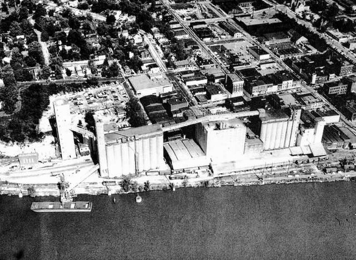 There have been flour mills in Alton since 1831; the Duncan Foundry and Machine Works was established in 1874; Mississippi Lime Company in 1895; Alton Brick Company in 1892. Other major industries were in Alton before World War I, with steel entering the picture in the form of the Laclede Steel Company in 1915. Alton Box Board Company was already on the ground since 1910, to provide package materials. Industry, when it came, stayed, and Alton has prospered by its stability. Pictured above are grain elevators along the Mississippi.