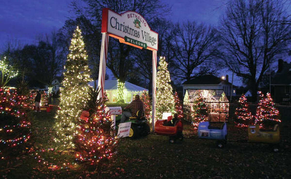 A barrel train goes through the entrance to the Bethalto Christmas Village last November. The attraction saw roughly 5,500 visitors walk through in its second year, organizers said Monday.