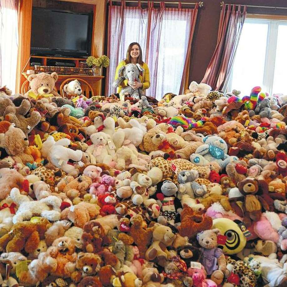 Photo provided Taylor Larson displays some of the donated stuffed animals she has collected.