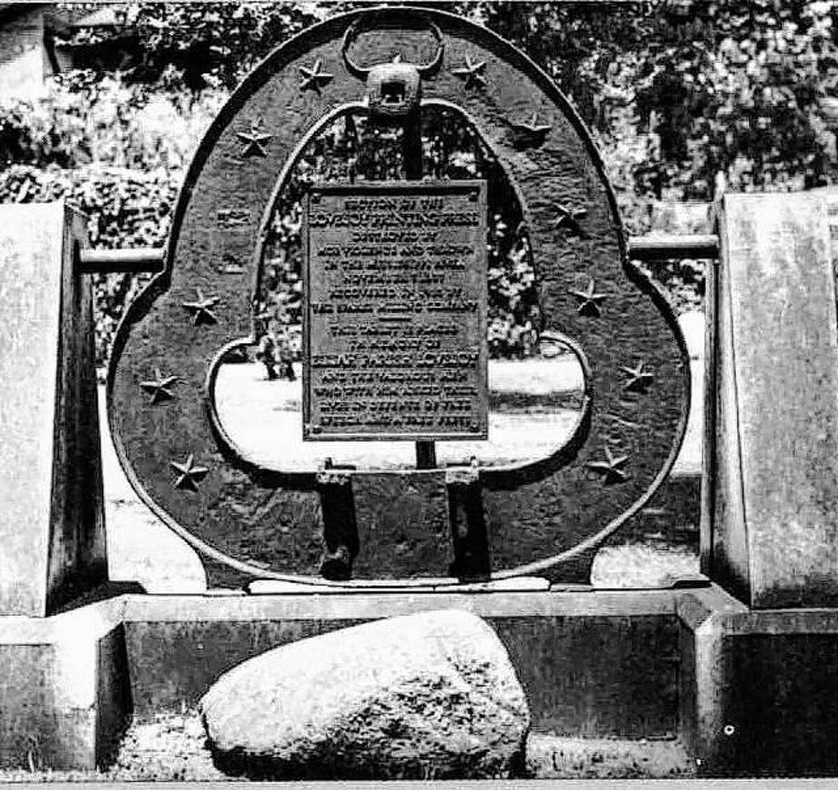 """The only recovered piece of Lovejoy's many presses, this """"yoke"""" was found at the bottom of the Mississippi River in 1915 when the Sparks Milling Co. was dredging the river to deepen the channel. The piece was retrieved, and a commemorative plaque was added. It was displayed outside the Sparks Milling office at State and William Streets, until 1938, when it was presented to the Alton Telegraph, where it remains on display."""