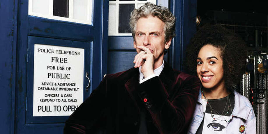 "Peter Capaldi as the 12th Doctor and Pearl Mackie as his new companion, Bill, will be on big screens at 7 p.m. Monday and Wednesday as the 10th modern season of ""Doctor Who"" begins. Photo: Handout Photo"