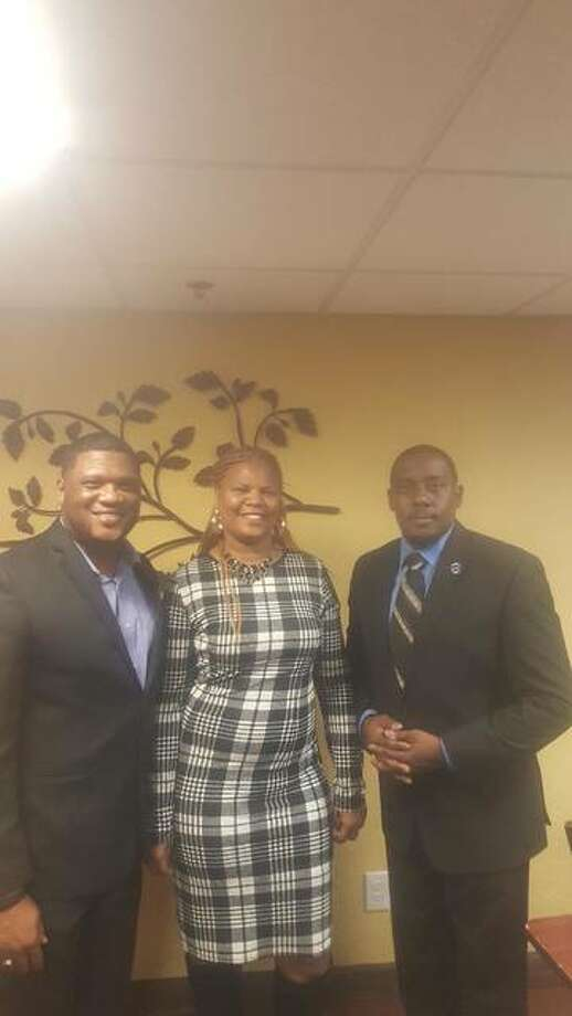"From left to right, the Black Chamber of Commerce of Illinois' founder and state President Anthony ""Corey"" Walker, of Decatur, the organization's Vice President Creola Davis, and Alton chapter President Rev. William Christopher Harris, of Alton. Photo: For The Telegraph"