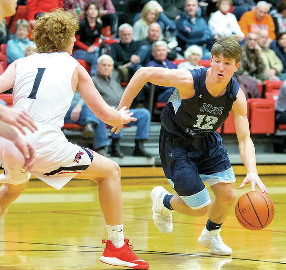 Jersey's Blake Wittman (12) scored 14 points Saturday, but the Panthers lost to Highland 57-45 at Havens Gym.