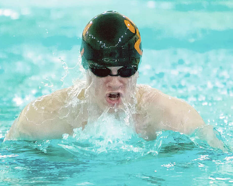 Edwardsville's McLain Oertle swam to first place in the 200-yard breaststroke Monday at the Swim for Hope Invitational at the Chuck Fruit Aquatic Center. EHS won the five-team meet. Photo: Scott Kane | For The Telegraph