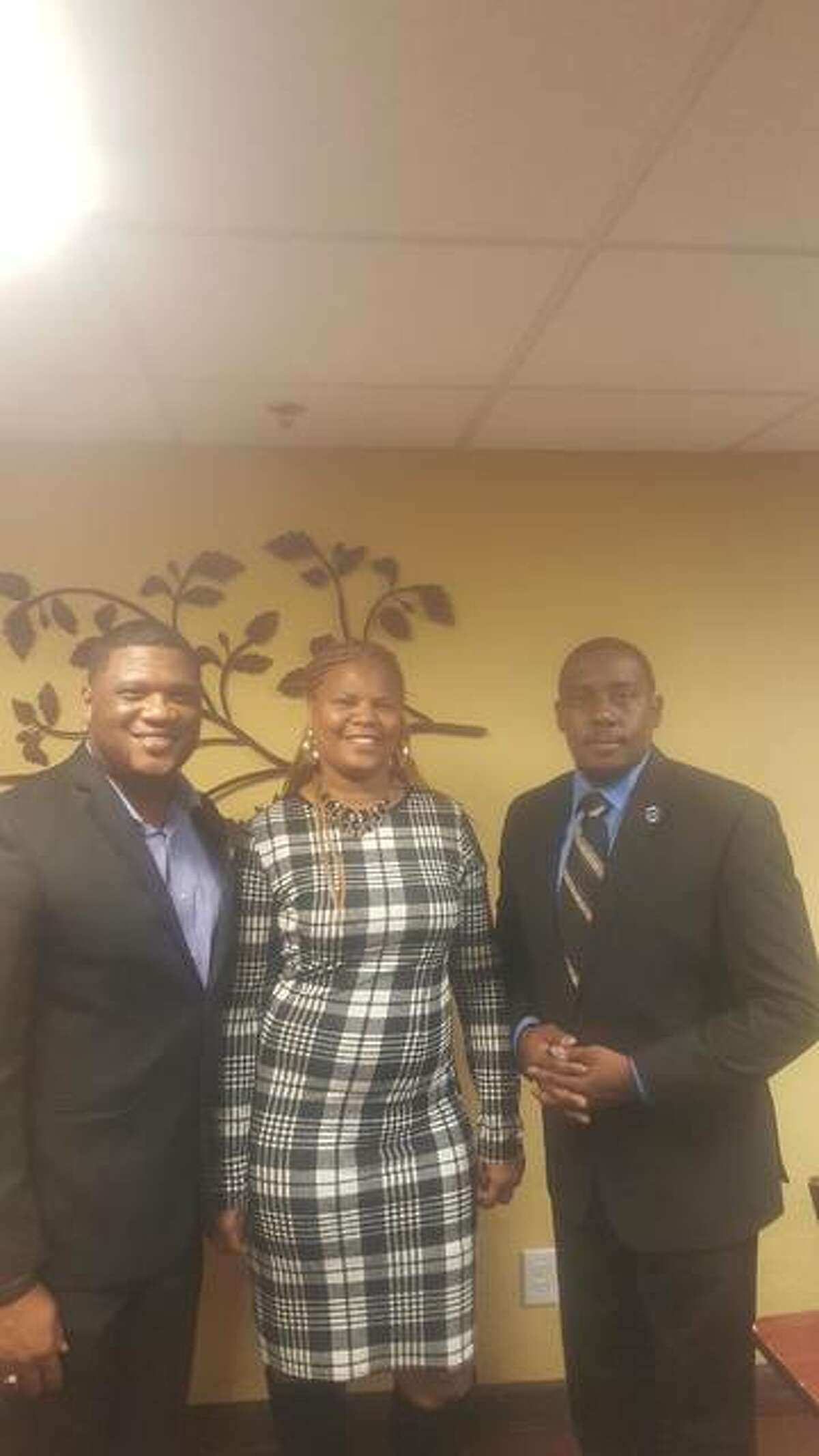 """From left to right, the Black Chamber of Commerce of Illinois' founder and state President Anthony """"Corey"""" Walker, of Decatur, the organization's Vice President Creola Davis, and Alton chapter President Rev. William Christopher Harris, of Alton."""