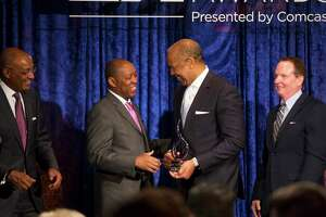 Mayor Sylvester Turner shakes the hand of Dr. Bernard Harris Jr. during the inaugural Mayor's History Makers Awards on Friday, Feb. 09, 2018, at The Houstonian.