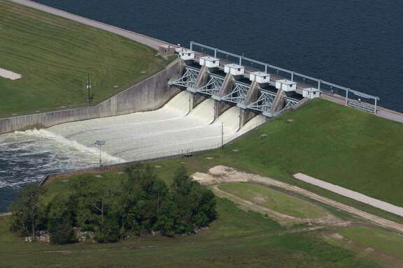 The Conroe Dam releases water from Lake Conroe after Hurricane Harvey dropped several feet of water onto the region. SJRA overseees the dam.