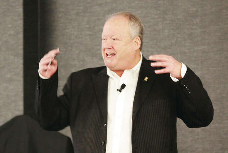Bill Geist, president of DMO Proz, a tourism marketing consultant, speaks during the Alton Regional Convention and Visitors Bureau's 14th annual Tourism Summit Thursday. The event spotlights efforts by the Alton CVB. Photo: Scott Cousins|The Telegraph