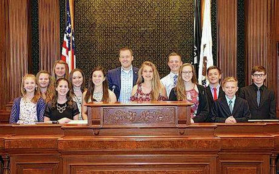 Photo provided State Rep. C.D. Davidsmeyer meets with Pittsfield Junior High Student Council members in the House chambers.