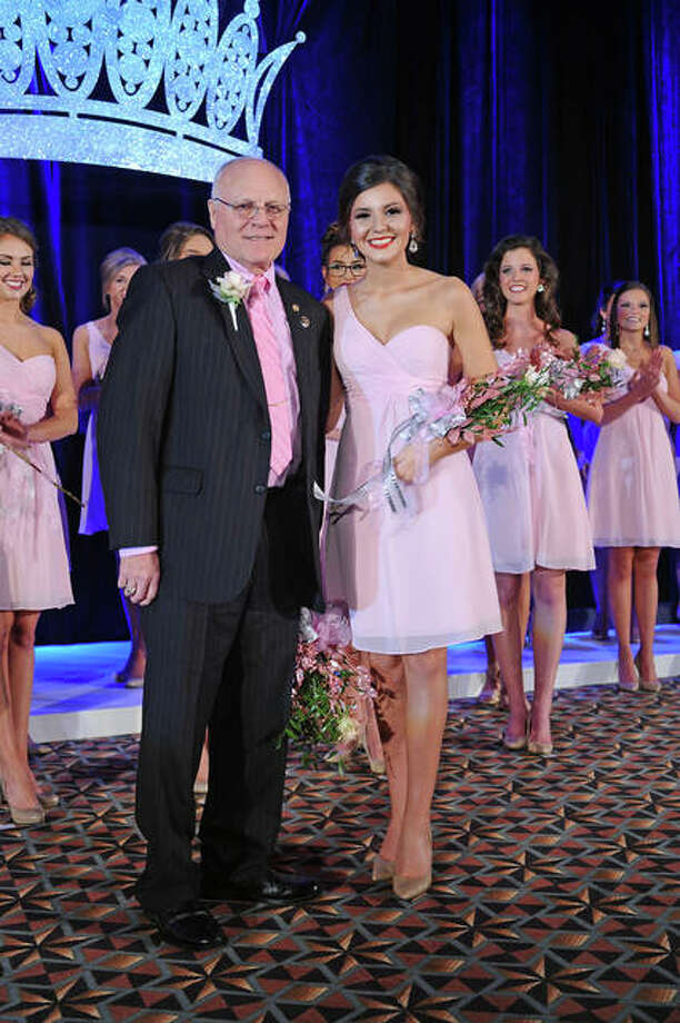 Miss Macoupin County Colleen Nichols when she was named a top 15 finalist. With her is Illinois Association of Agricultural Fairs President Bill Redshaw. Photo: David Blanchette | For The Telegraph