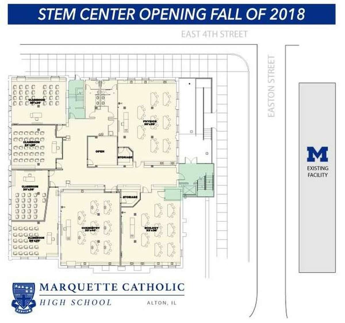 A floor plan shows the expected layout of the new facility, which will be located on the ground floor of the former Millers Mutual building. The facility is set to occupy roughly 10,000 square feet and is anticipated to open at or shortly after the start of the new school year in August.