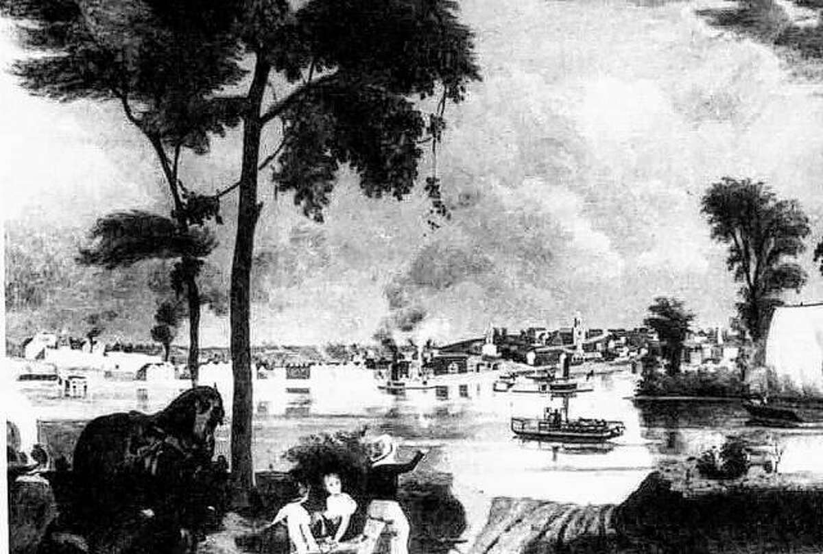 This romanticized painting of Alton, by J.W. Blair, shows Alton from almost the viewpoint on the Missouri shore. This painting was complete in the mid 1800s.