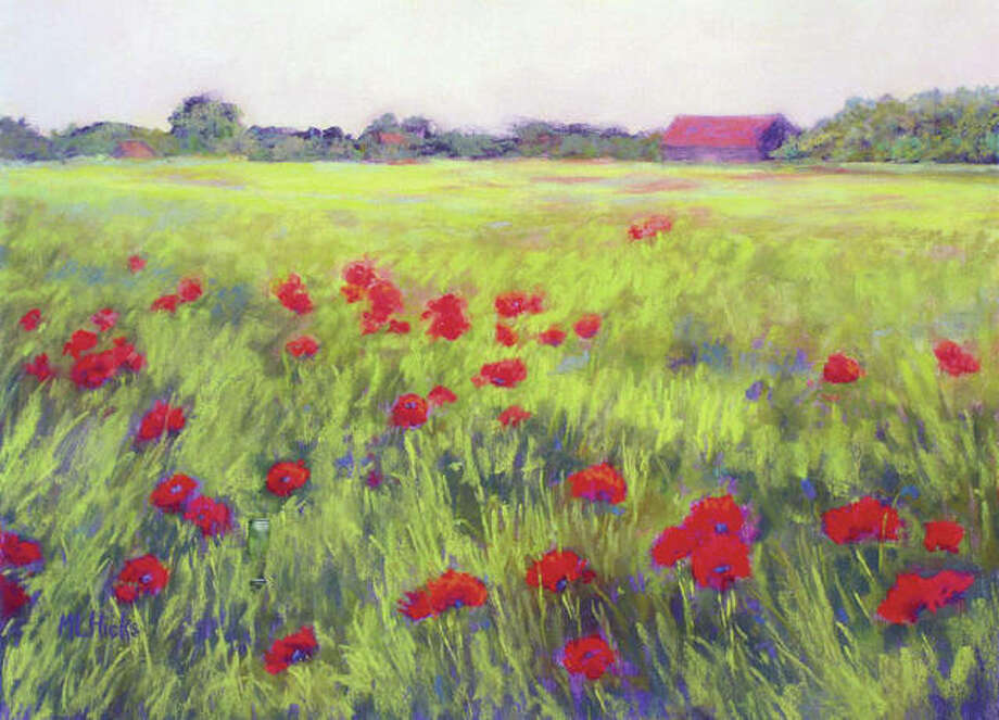 """Poppies in Flanders,"" a pastel painting by Mary Lou Hicks, will be part of the ""In a New Light"" exhibit opening Saturday at the Art Association of Jacksonville's David Strawn Gallery. Photo: Submitted Photo"