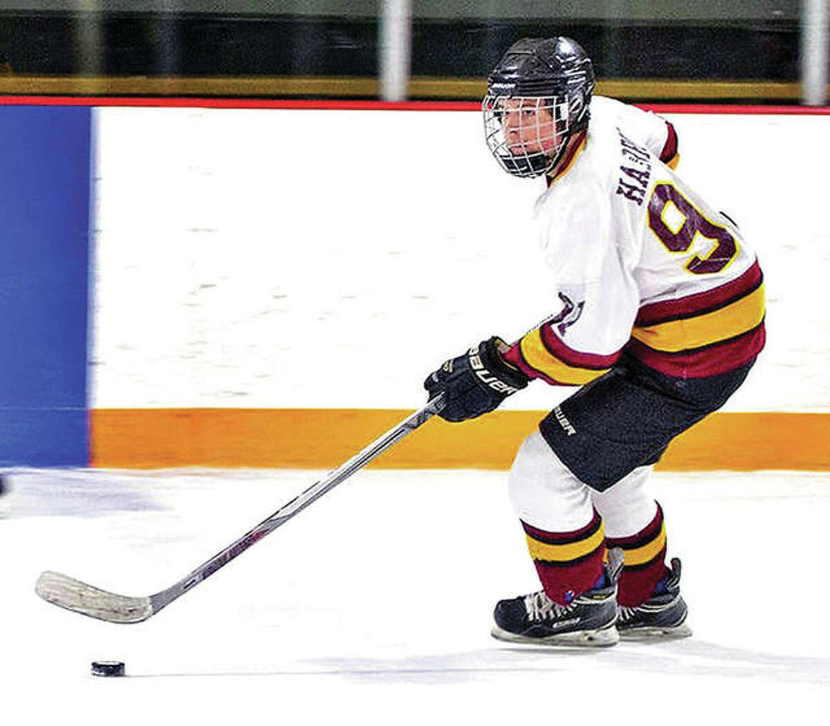 EA-WR's Kaleb Harrop will lead his team into a quarterfinal-round series against Triad in the Class 1A MVCHA playoffs, set to begin Wednesday at the east Alton Ice Arena. Harrop led the Oilers with 39 goals in the regular season.