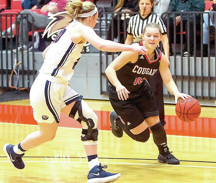 SIUE's Elina Berzina, right, scored a career-high 12 points in her team's 86-64 loss to Belmont College Saturday in Nashville, Tenn. Photo: SIUE Athletics