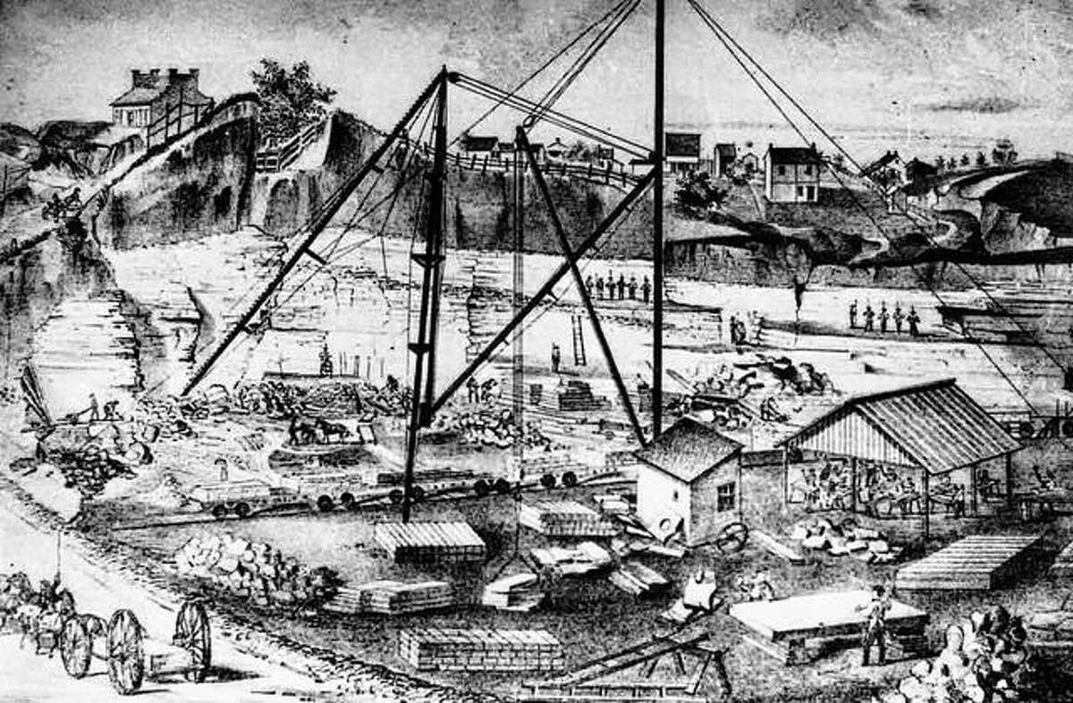 The quarrying of limestone was a major industry in the early days of Bluff City. Rich limestone deposits encouraged the use of limestone in buildings, and many stonemasons settled here. Henry Watson, originally a stonemason, owned several quarries. The site illustrated was located at Ninth and Market streets. An intricate pulley system was devised to move the large blocks of stone. A number of employees handled many different jobs. Lime, cement, and plaster were also produced in the many quarries located in Alton and along the bluffs. The quarries yielded a very high quality lime, said to be the best in the state. In 1873, an estimated three hundred thousand bushels were shipped out.