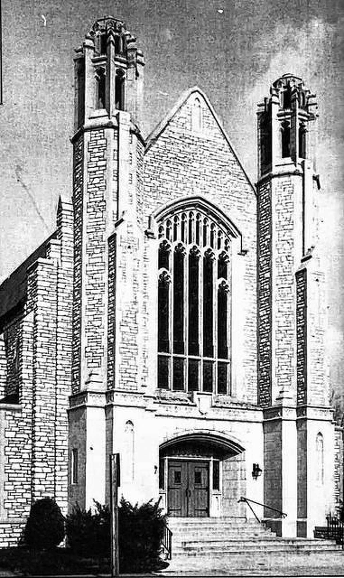 """The former College Avenue Presbyterian Church building was dedicated in November, 1927. Architect L. Baylor Pendleton selected the English Gothic style as being the closest to the """"Christian's ideal of a temple."""" The foundation and walls are of limestone taken from local quarries, laid in a """"random rubble style"""" which leaves the shape of each stone well defined. The roof is of natural blue slate from Vermont. The interior of the church also follows Gothic style. Embedded in the pulpit is a small stone taken from Mars Hill (The Aeropagus) where the Apostle Paul delivered a famous sermon. Additional buildings housed the education department, gymnasium, and meeting facilities."""