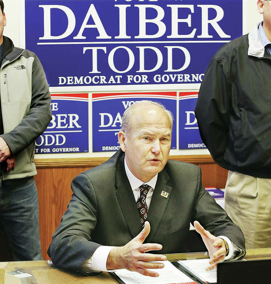 Illinois Democratic candidate for governor, Bob Daiber, a veteran educator, spoke Monday about labor issues at the Carpenter's Union Hall on Madison Avenue in Wood River. Photo: John Badman | The Telegraph