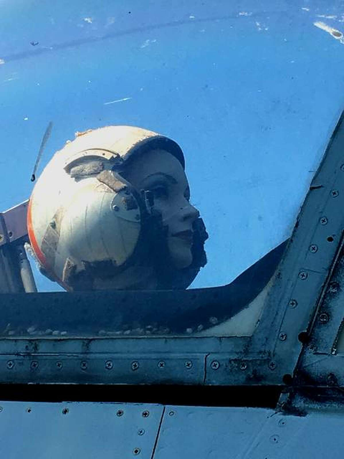 Mabel, as seen in the cockpit of the U.S. Navy A7E II Corsair on display at Robert C. Stille Edwardsville Township Community Park.