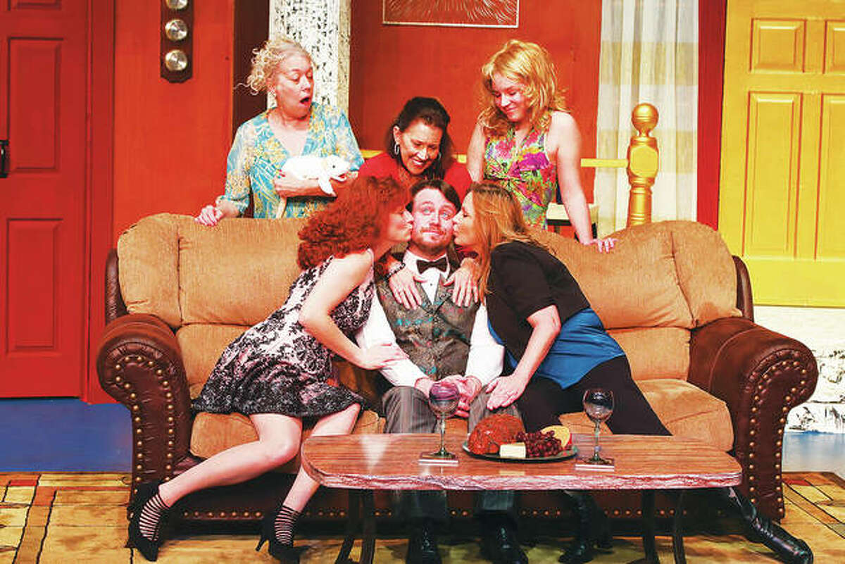 """Alton Little Theater presents """"Who's In Bed with the Butler,"""" Friday, Feb. 9, through Sunday, Feb. 18, with Christine Newport, Claudia Herndon, Shawn Chevalier, Alison Beach and Olivia Spangler, who join the """"butler,"""" Kelly Hougland, on stage."""