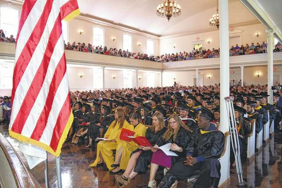 MacMurray College's Annie Merner Chapel was filled to overflowing Saturday for the college's annual commencement ceremony. Degrees were bestowed upon 127 undergraduates. Photo: Greg Olson | Journal-Courier