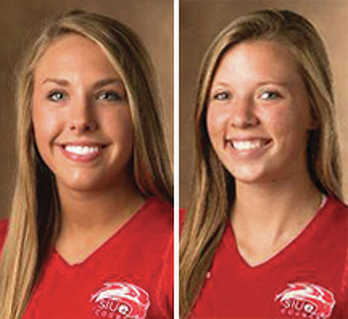 SIUE's Mallory Mangun (left) moved into the top 10 for career digs with the Cougars, while Carley Ramich had a career-high 10 blocks in Saturday's OVC win at Southeast Missouri.