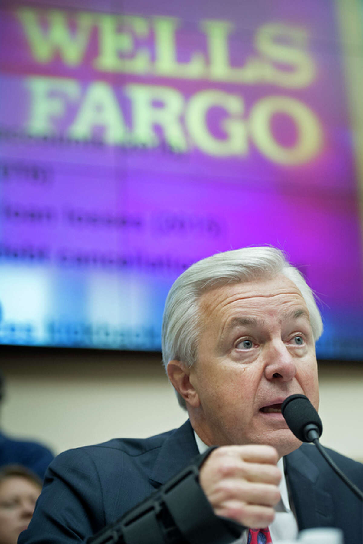 Wells Fargo CEO John Stumpf testifies on Capitol Hill in Washington, Thursday, Sept. 29, before the House Financial Services Committee investigating Wells Fargo's opening of unauthorized customer accounts.