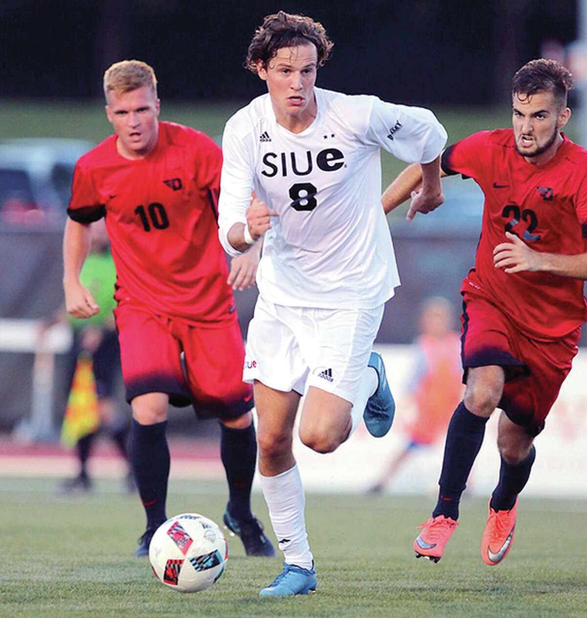 SIUE's Mathias Ebbesen (8) scored his first goal of the season in the first half of Tuesday night's 3-0 win over IUPUI at Korte Stadium.