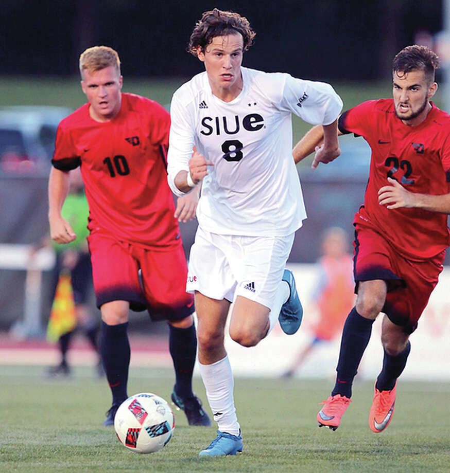 SIUE's Mathias Ebbesen (8) scored his first goal of the season in the first half of Tuesday night's 3-0 win over IUPUI at Korte Stadium. Photo: SIUE Athletics